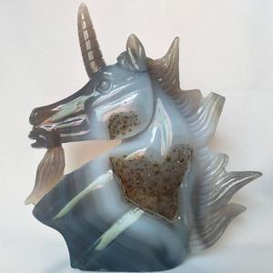 Image 2 - A Doğal taş akik oyma unicorn kristal kafatası kristaller geode küme yaratıcı oyma ev dekorasyon asil ve saf