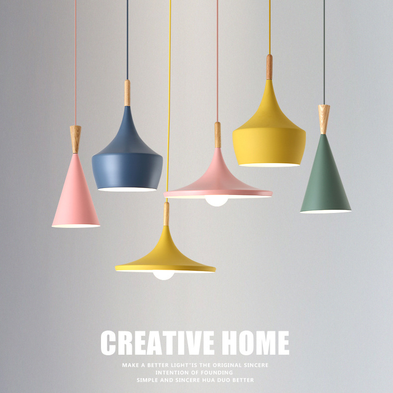 Creative 3 heads Colorful Pendant Lamp Modern Vintage Bar Restaurant Bedroom Hanging Lamp Large Shopping E27
