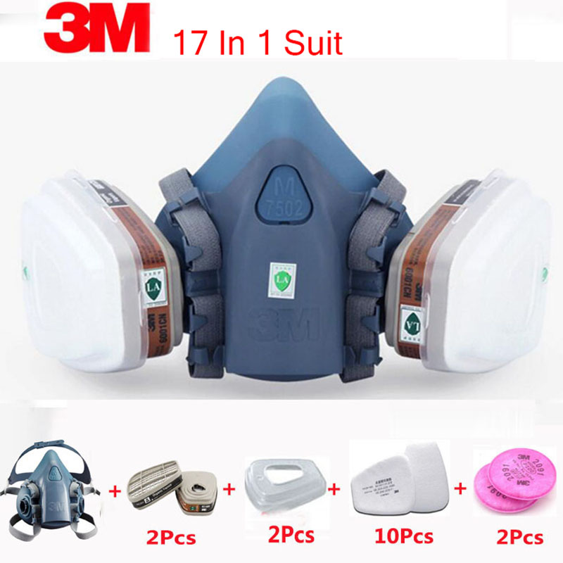 3M 7502 Respirator Mask 17 in 1 Suit Industry Painting Spray Dust Gas Mask With 3M 501 5N11 6001CN Chemcial Half face Mask 3m 7502 7piece suit respirator painting spraying face gas mask half face mask for construction mining