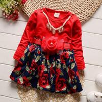 2017Girls Dress New Girl Party Dress Girls Clothes Long Sleeve Tutu Princess Dresses With Belt New