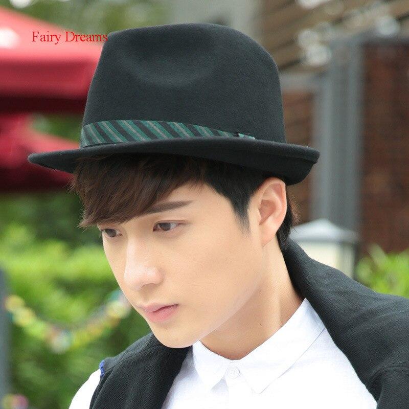 Fairy Dreams Wool Hat For Mens Fedora Hats <font><b>Chapeu</b></font> Masculino Gorra Hombre Fedoras Sombreros Formal Black Felt Cap 2017 New Style