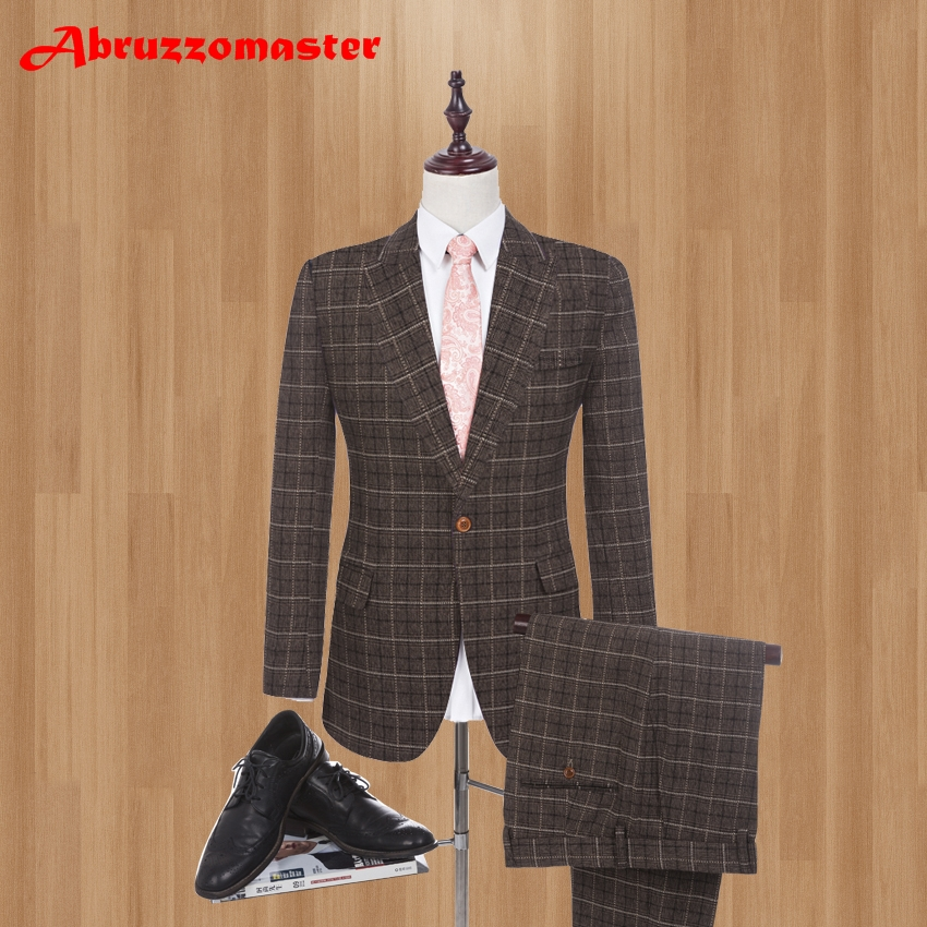 Brown Linen Men Suits with Pants S-4XL Fashion 2019 Brand Men Slim Fit Single Breasted One Button Wedding Suit (Jacket+Pant)