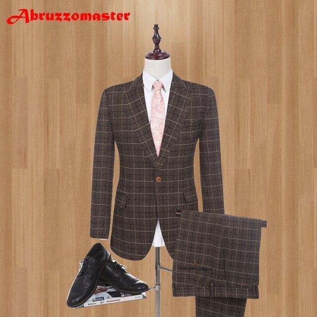ブラウンリネンスーツパンツ S-4XL ファッション 2019 ブランド男性スリムフィットシングルブレスト 1 ボタンの結婚式のスーツ (ジャケット + パンツ)