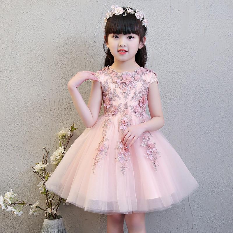 Exquisite Short Sleeve Pink Flower Girls Formal Wedding Dresses Kids Bead Evening Party Princess Birthday Sunny