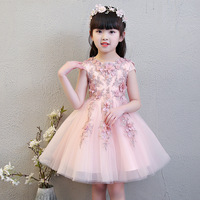 Exquisite Short Sleeve Pink Flower Girls Formal Wedding Dresses Kids Bead Evening Party Princess Birthday Sunny Holiday Dress
