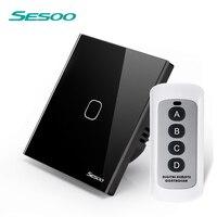SESOO EU UK Standard Smart Wall Switch Remote Control Switch Wireless Remote Control Touch Light Switch