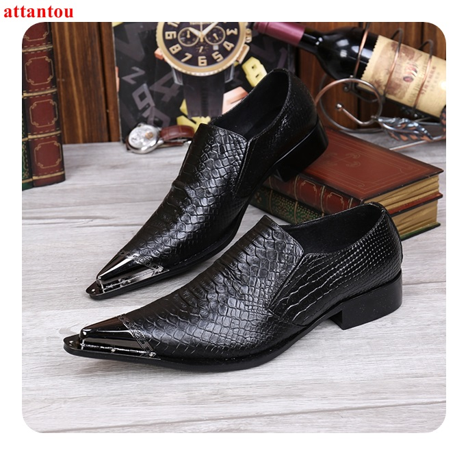 Hot Sale Autumn Silver Pointed Toe Men Dress Shoes Black Leather Luxury Male Casual Shoes Slip-on Man Office Feast Formal Shoes hot sale blue snakeskin pointed toe men dress shoes lace up leather shoes luxury male casual shoes man office feast formal shoes