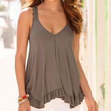 New Women Casual Pleated V Neck Loose Solid Camis Tank Vest Tops Tee