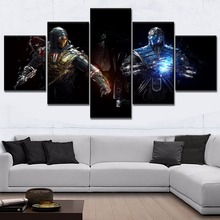 5 Panel Sub-Zero Scorpion And Mortal Kombat Painting Modern Home Decorative Living Room Game Poster Top-Rated Canvas Printed