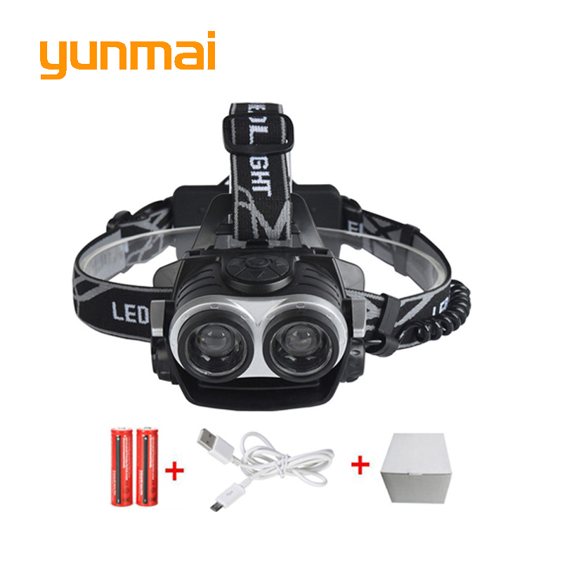4000LM LED Headlamp CREE XML T6 3 Modes Rechargeable Headlight Head Lamp Spotlight For Hunting+Charger(US EU UK)+2 PCS 18650