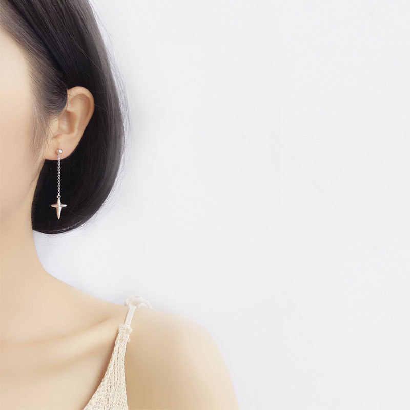 Asymmetrische Kreuz Lange Tropfen Ohrringe Für Frauen 2018 Neue Trend 925 Sterling Silber Fasion Schmuck Zubehör eh894