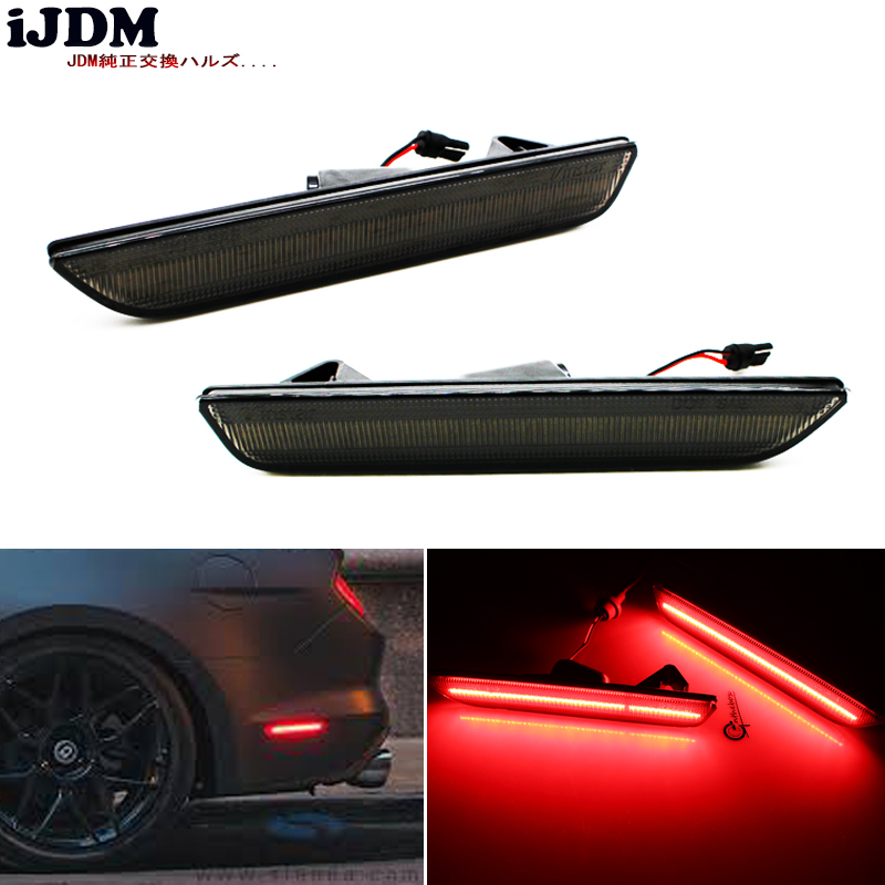 iJDM For Car Mustang LED Rear Side Marker Lamps with 96-SMD-4014 LED Lights For 2015-2017 Ford Mustang white Red 12V