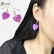 Steampunk Shiny Sequins Love Heart Drop Earrings For Women Fashion Jewelry Dangle Earring Bijoux Brincos Pendientes mujer