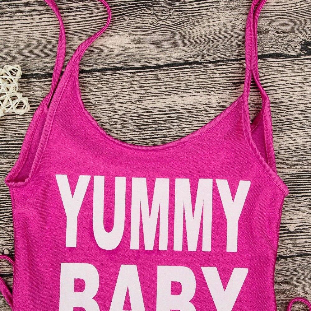 2018 Gorąca sprzedaż Kid Beachwear Rose Red Yummy Baby Letter Print - Odzież dla niemowląt - Zdjęcie 3