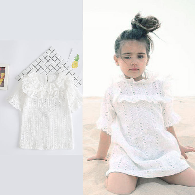 32e2209fe56 Cotton Lace Girl Dress Kids 2017 Summer New Embroidered Children Clothes  White Lace Princess Korean Cute Thin Dress-in Dresses from Mother   Kids on  ...