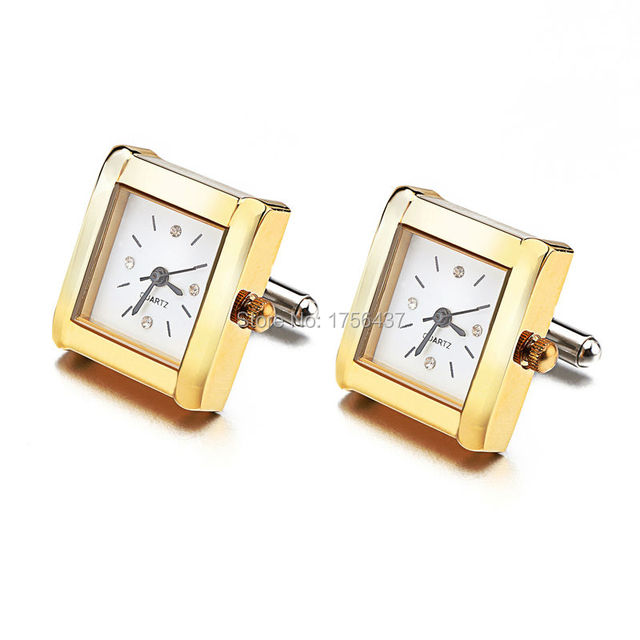 Lepton Functional Watch Cufflinks For Men Square Real Clock Cuff links With Battery Digital Mens Watch Cufflink Relojes gemelos 1