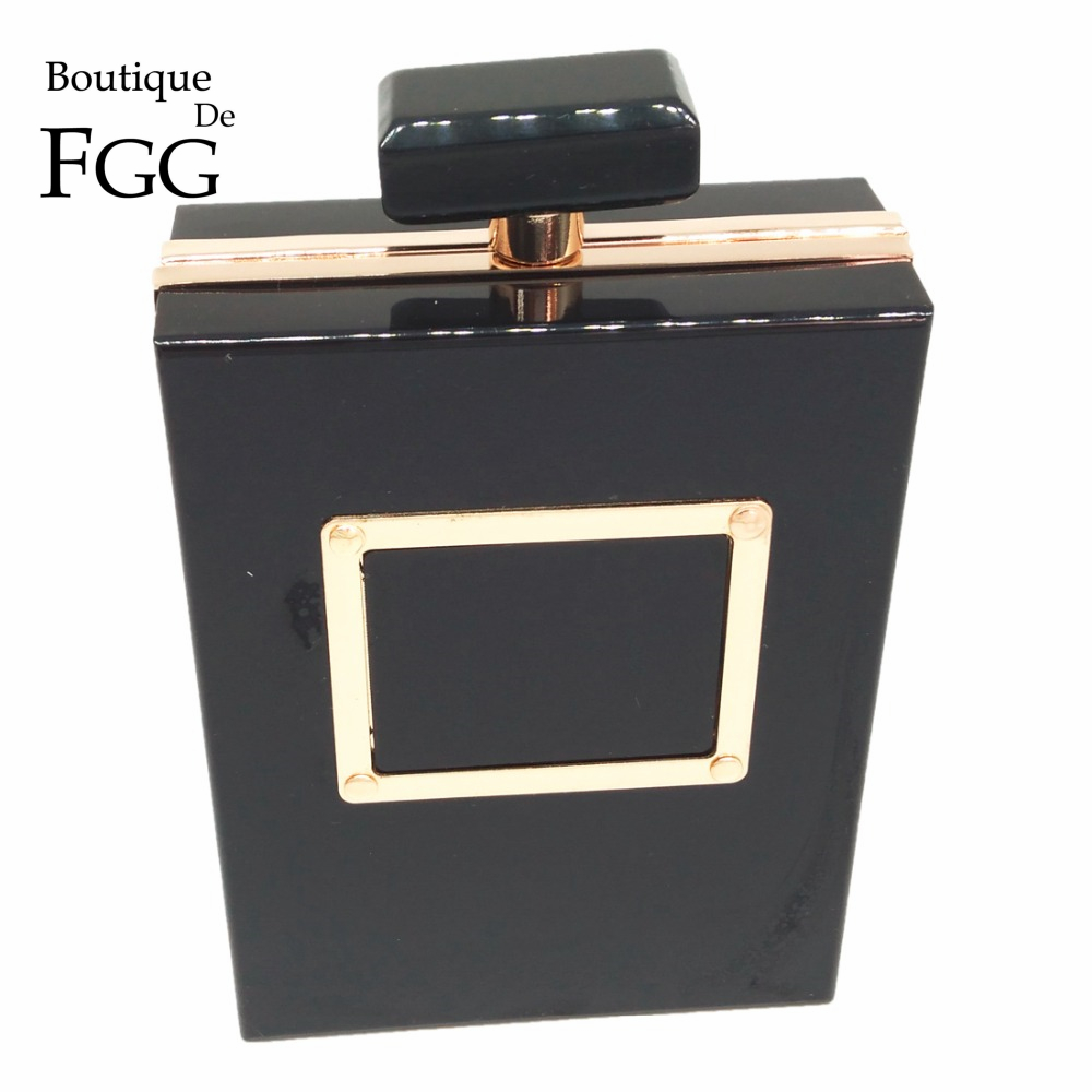 Brand Perfume Bottle Women Evening Bag Black Acrylic Box Clutch Shoulder Hardware Metal Clutches Purse Chain Handbags Bolsa