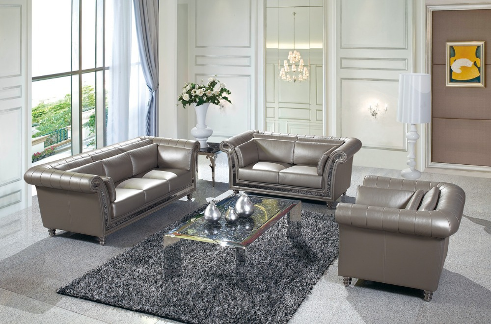 Jixinge Chesterfield Sofa European Leather Sofa 123 Combination