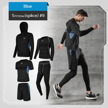 5 Pcs/Set Men's Tracksuit Gym Fitness Compression Sports Suit Clothes Running Jogging Sport Wear Exercise Workout Tights 7