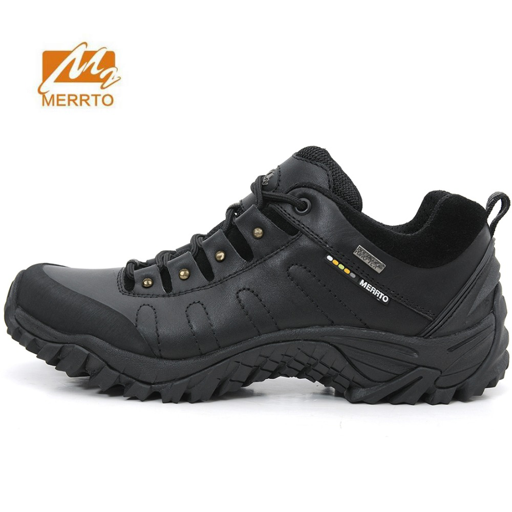 MERRTO Men's Leather Outdoor Hiking Trekking Shoes Sneakers Footwear For Men Sports Climbing Mountain Shoes Man Zapatillas Hombr humtto new hiking shoes men outdoor mountain climbing trekking shoes fur strong grip rubber sole male sneakers plus size
