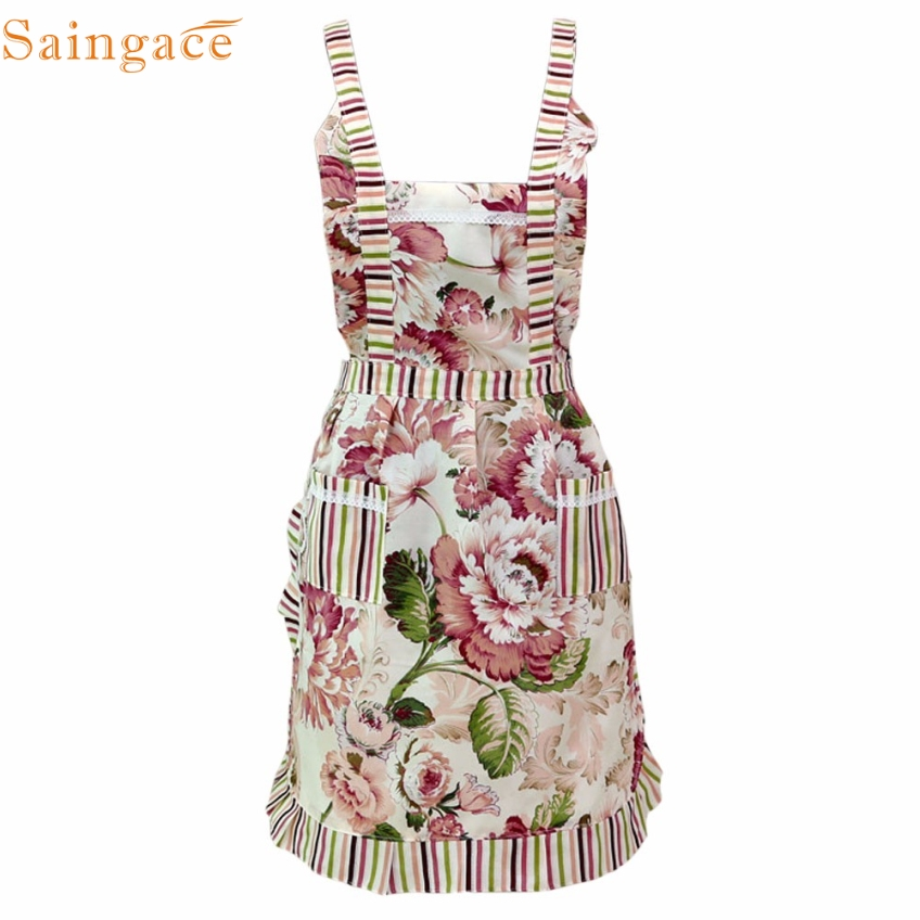 Saingace Gifts high Quality Beauty Floral Women Lady Restaurant Home Kitchen For Pocket Cooking Apron Bib