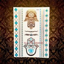 Hamsa Eye Hands Henna Gold Metallic Tattoo Body Art Flash Tattoo Sticker HYH008 Indian Totem Fatima Fake Selfie Tatoo Waterproof