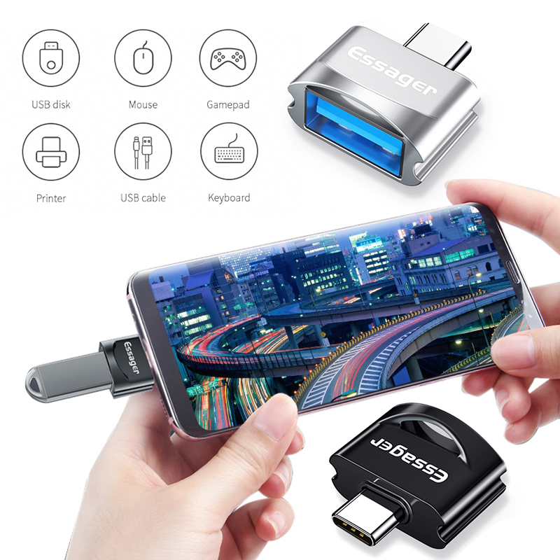 Essager USB Type C OTG Adapter 2 Colors USB-C Connector USB-C Type-C To USB 3.0 OTG Converter For Samsung S10 Xiaomi Mi 9 Huawei