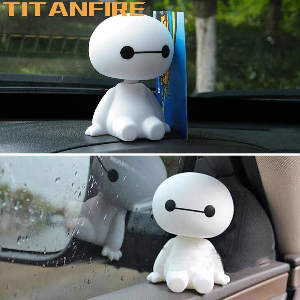 TF30 Cartoon Car Ornaments Plastic Shaking Baymax Robot Auto Figure Decorations Interior Big Hero Doll Toys Ornament Accessories