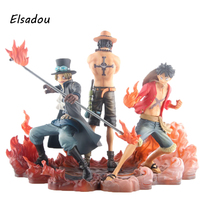 Elsadou 3pcs Set Anime One Piece DXF Luffy Ace Sabo PVC Action Figure Collectible Model Toy