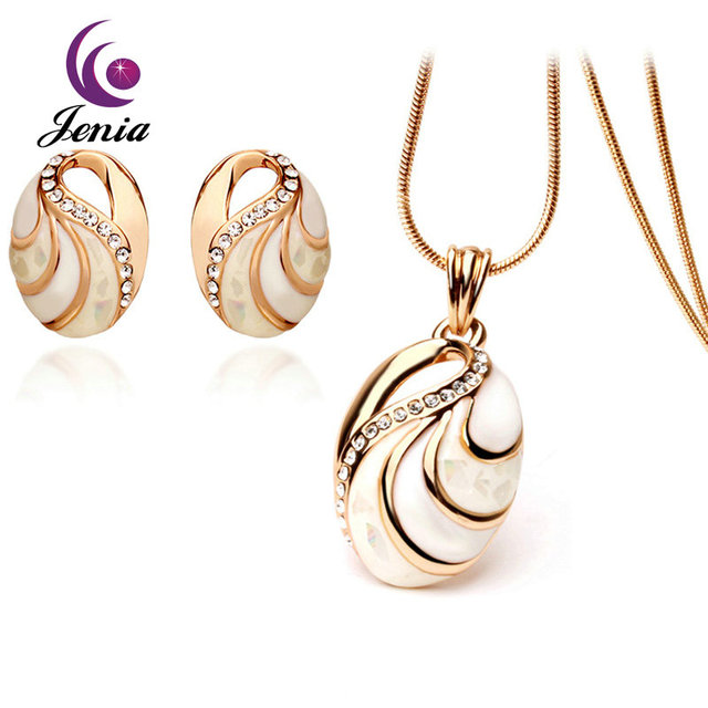 e6020346e Jenia Hot Selling Fashion Opal Pendant and Earrings Sets Gold Plated Imitation  Jewelry Set for Women