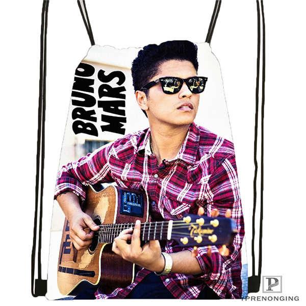 Custom Bruno Mars BW HD Drawstring Backpack Bag Cute Daypack Kids Satchel Black Back 31x40cm 180611