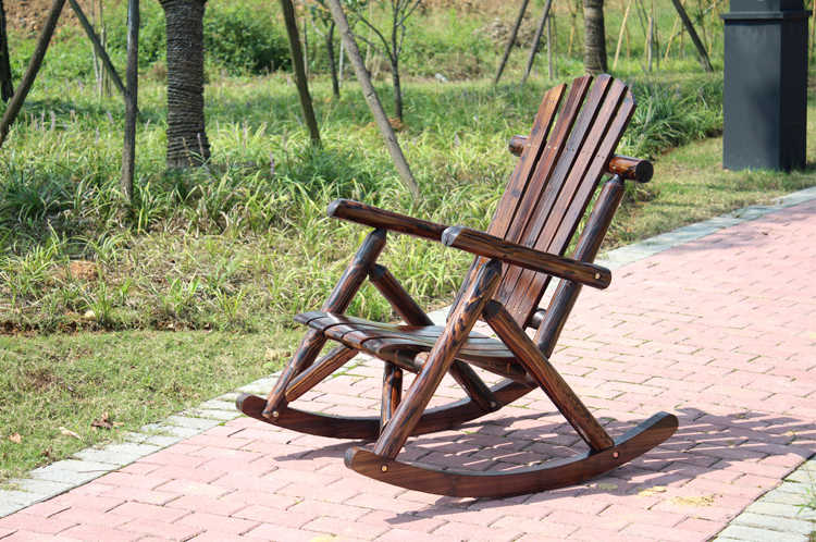 Strange Outdoor Patio Adirondack Wood Bench Chair Rocking Chair Contemporary Solid Wood Log Deck Garden Furniture Single Rocker Chair Squirreltailoven Fun Painted Chair Ideas Images Squirreltailovenorg