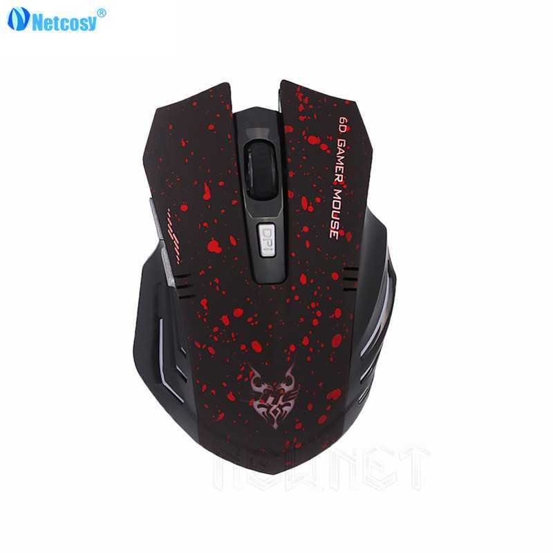 Netcosy Green/Blue/Sliver/yellow/Red 6D game mouse wireless Mouse without battery for PC Laptops
