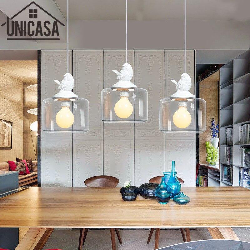 US $40.08 50% di SCONTO Clear Glass Ombra Antico Ciondolo Luci Vintage Bar  Apparecchi di Illuminazione Cucina ad Isola Hotel LED Lampada Moderna del  ...