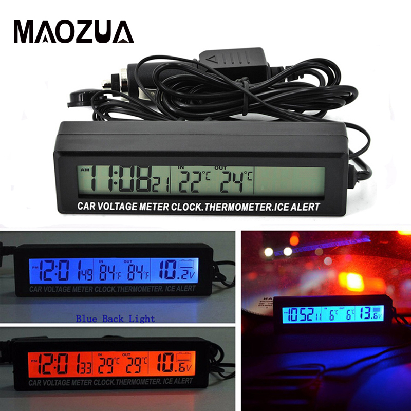 12V//24V Digital LCD Clock In//Out Thermometer ICE Alert Kit Car Voltage Meter A