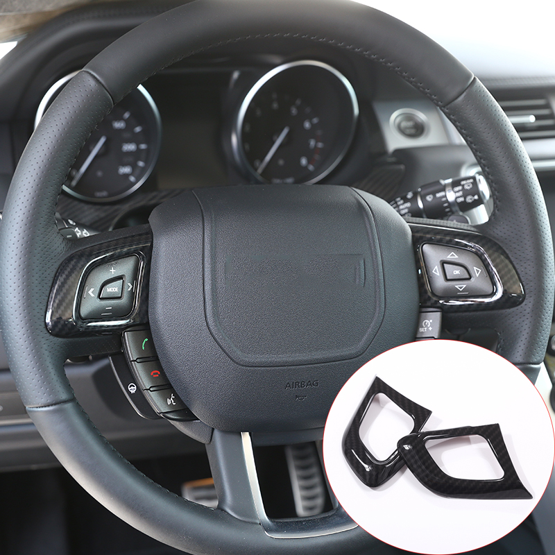 New! Carbon Fiber Style ABS Plastic Accessories For Land Rover Range Rover Evoque 12 17 Steering Wheel Button Cover Trim