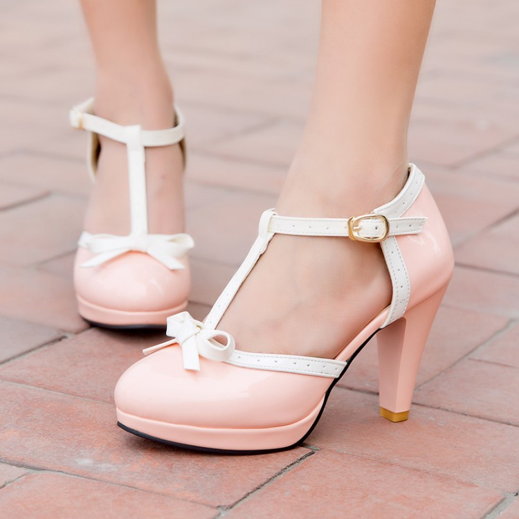 ФОТО 2015 women pumps sandals bow high-heeled strappy sandals waterproof shoes sweet girl party pumps sexy club shoe big size 42 43