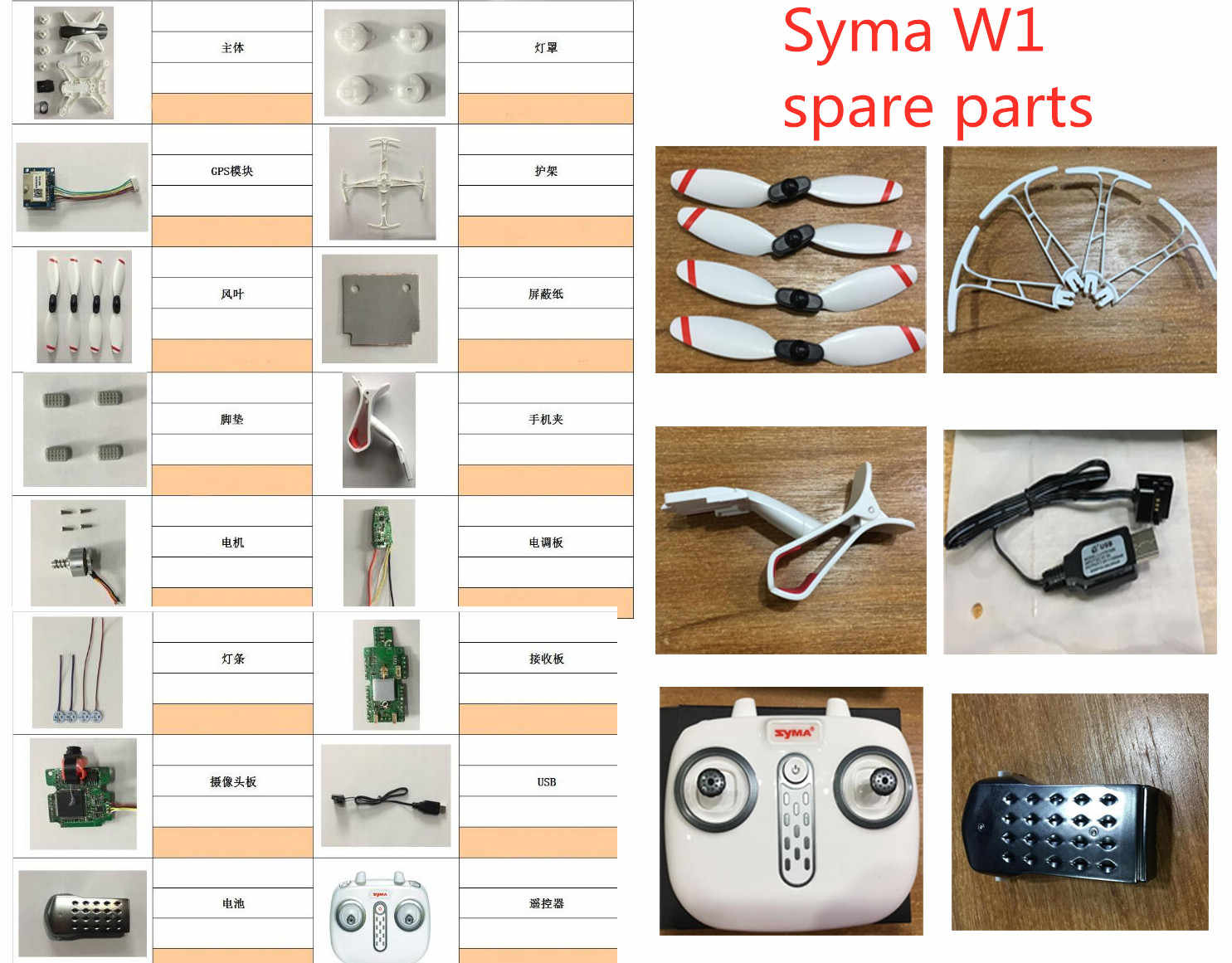 Syma W1 Borstelloze RC Quadcopter Accessoires Afstandsbediening Drone Onderdelen body shell motor blades Bescherming ring GPS Ontvangst camera set