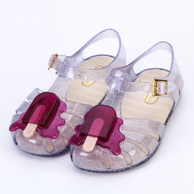 Mini Melissa Cute Popsicles Mini Girls Sandals 2018 New ARANHA VIII Ice Cream Jelly Sandals Shoes Soft Comfort Kids Sandals