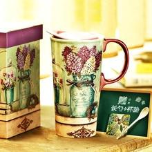 קרמיקה ספלי קפה ארוחת בוקר חלב ספלי נורדי תוספות סגנון גדול קיבולת 500ml ספלי תה מים שתיית כוסות אריזת מתנה עם כיסוי