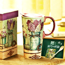 Ceramic Coffee Mugs Breakfast Milk Mugs Nordic Ins Style Large Capacity 500ml Mugs Tea Water Drinking Cups Gift Box with Cover