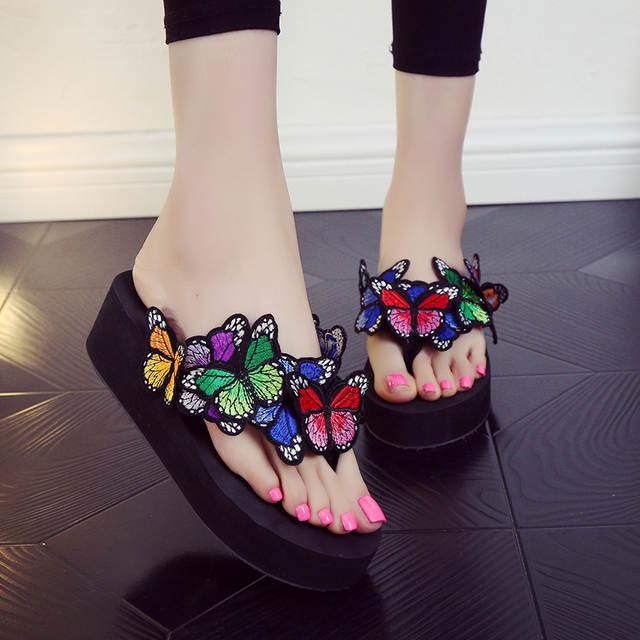 Letnie sandały buty damskie platformy kapcie kąpielowe Wedge Beach klapki wysokie klapki na obcasie dla kobiet PLUS rozmiar 42 czeski