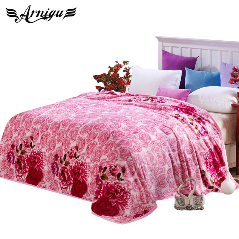 ARNIGU Romantic Pink Rose Wedding Blanket Soft Winter Bed Sheet Sofa/bedding  Throws Twin Queen Double Size Bedspread