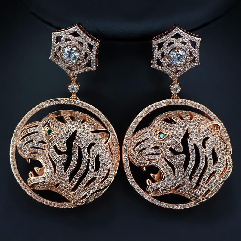 ALW Vintage Tiger Head Round Pendant Design Drop Earrings For Women Zircon Party Female Earring Fashion Jewelry 2016 Earing