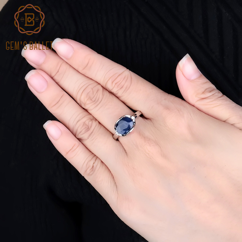 GEM'S BALLET New 3.24Ct Natural Blue Sapphire Rings Real 925 Sterling Silver Classic Oval Ring For Women Anniversary Fine Gift
