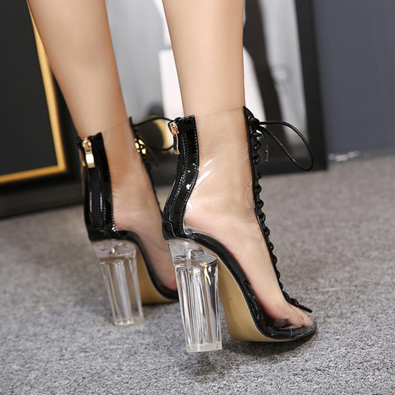 39fb9df8974f Women Gladiator Sandals PVC Clear Block High Heel Transparent Boots Lace Up  High Top Bootie Pumps Perspex Lucite Summer Shoes-in Women s Pumps from  Shoes on ...