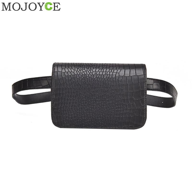 Vintage PU Leather Waist Bag Women Alligator Waist Pack Portable Travel Belt Wallets Fanny Pack Ladies Shoulder Messenger Bag