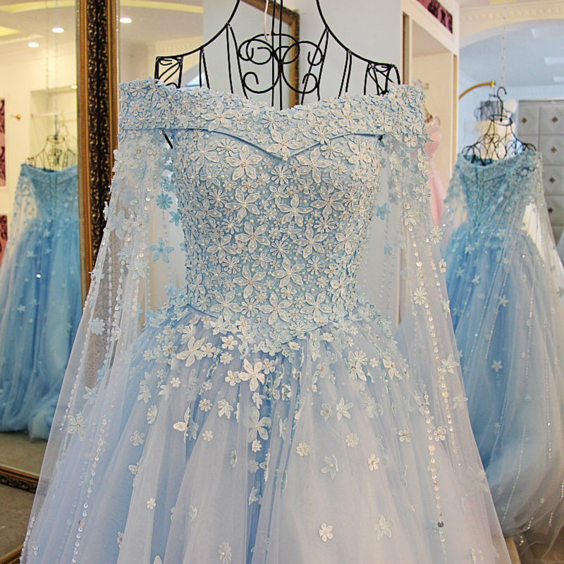 Light blue pearls a line wedding dresses 2017 new designer for Light blue lace wedding dress