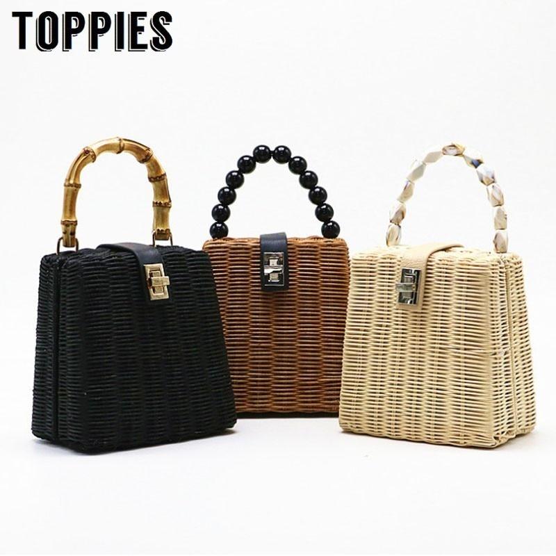 Luxury Handbags Women Boho Straw Braided Handbags Summer Straw Bag Vacation