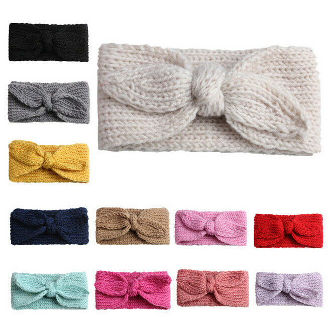 New Winter Autumn Baby Hat Soft Elastic Cotton Newborn Hat Kids Cap Knit Girls Hats Toddler Bow Headband Hair Band Head Wrap